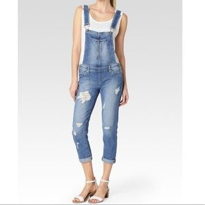 Paige distressed cropped overalls